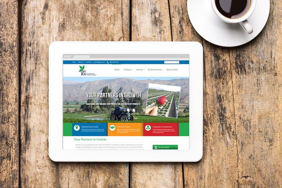 AgRx Tablet Website Design on Tablet