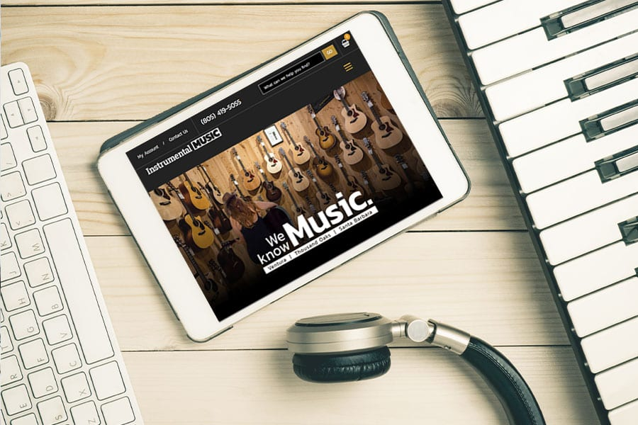 'Instrumental Music' website on tablet