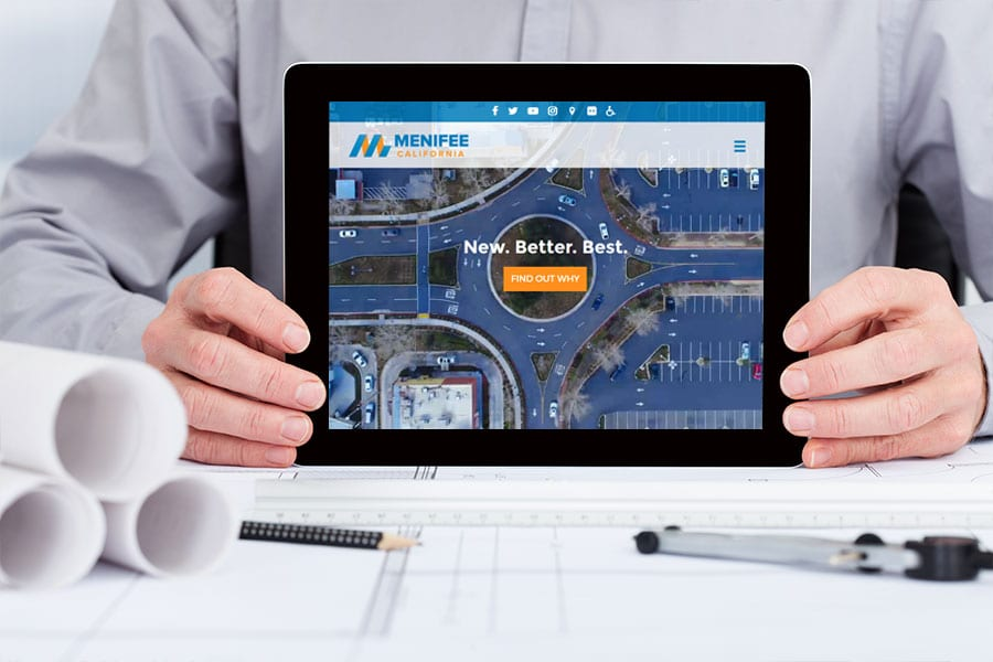 'Menifee Economic Development' website on tablet