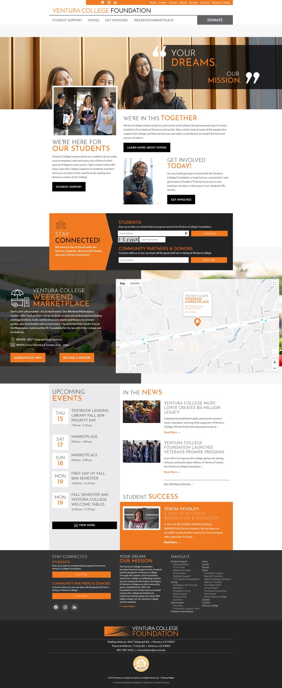 'Ventura College Foundation' Custom foundation website design