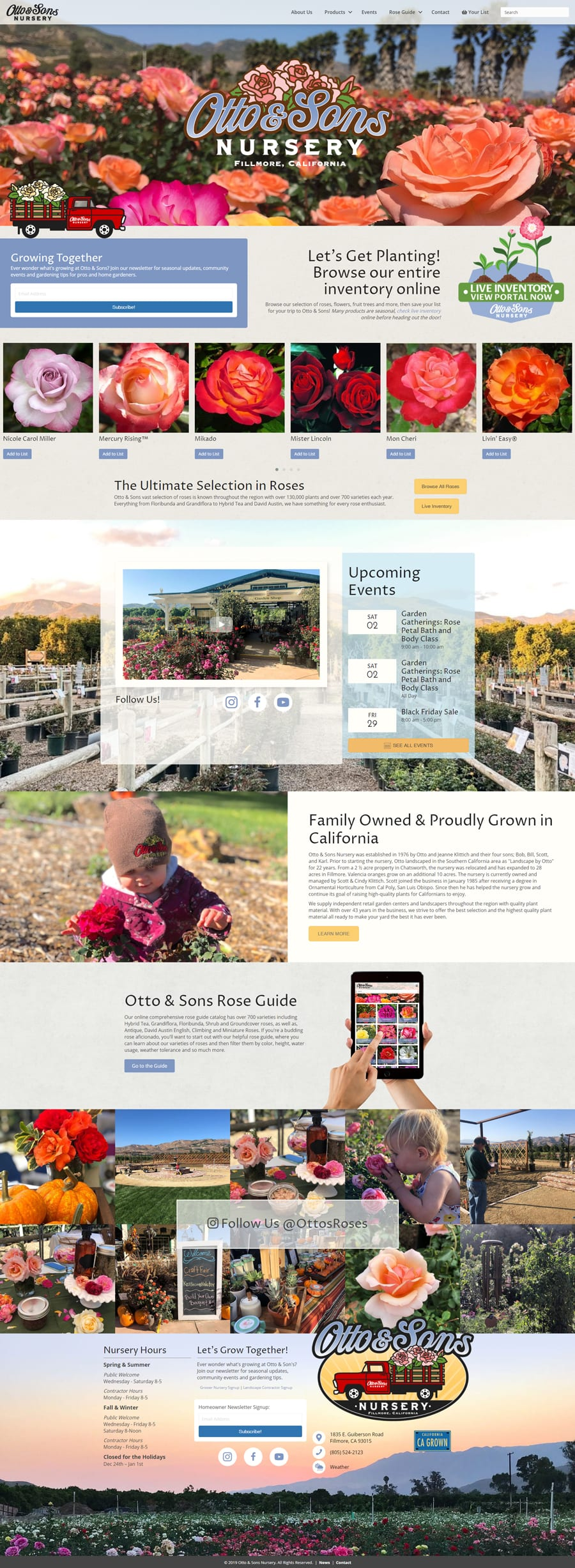 'Otto & Sons Nursery' Website Home Page
