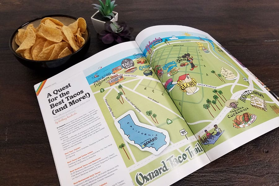 'Oxnard Taco Trail' illustrated magazine layout