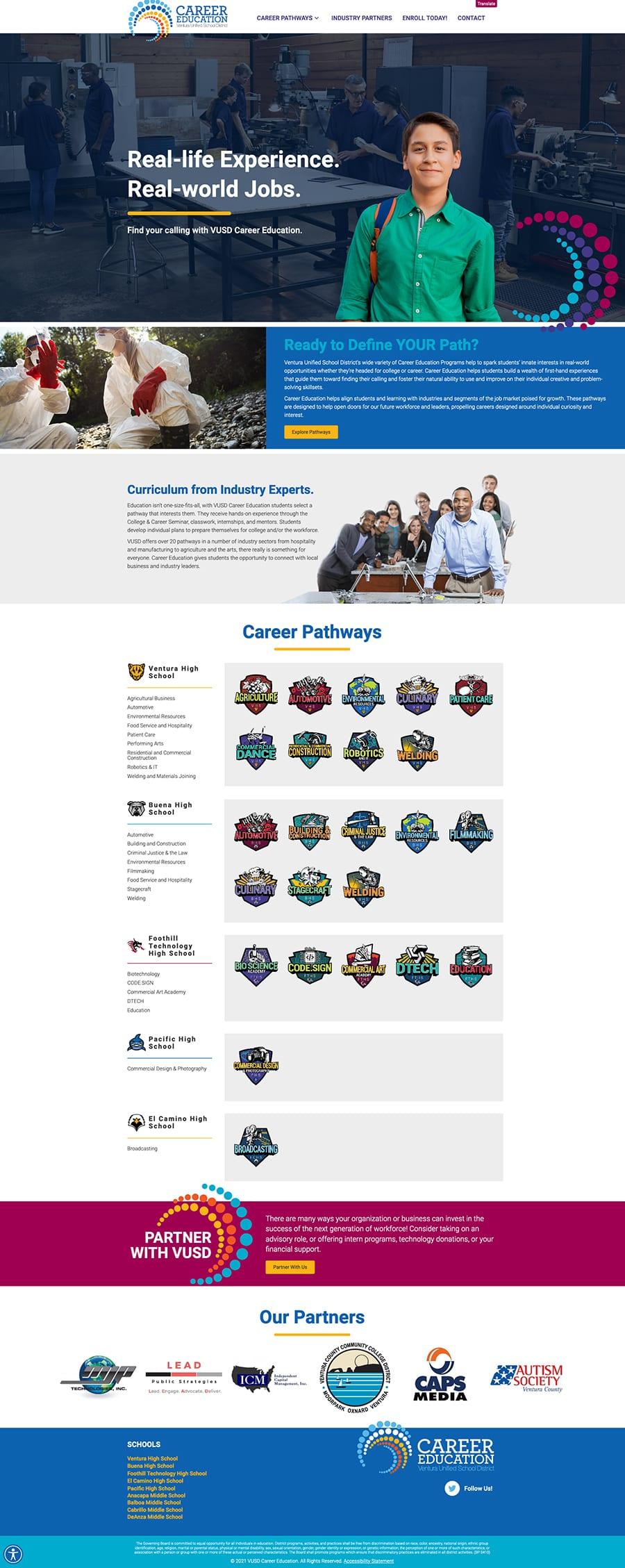 Fullscreen screenshot of VUSDCareerEducation.org's home page