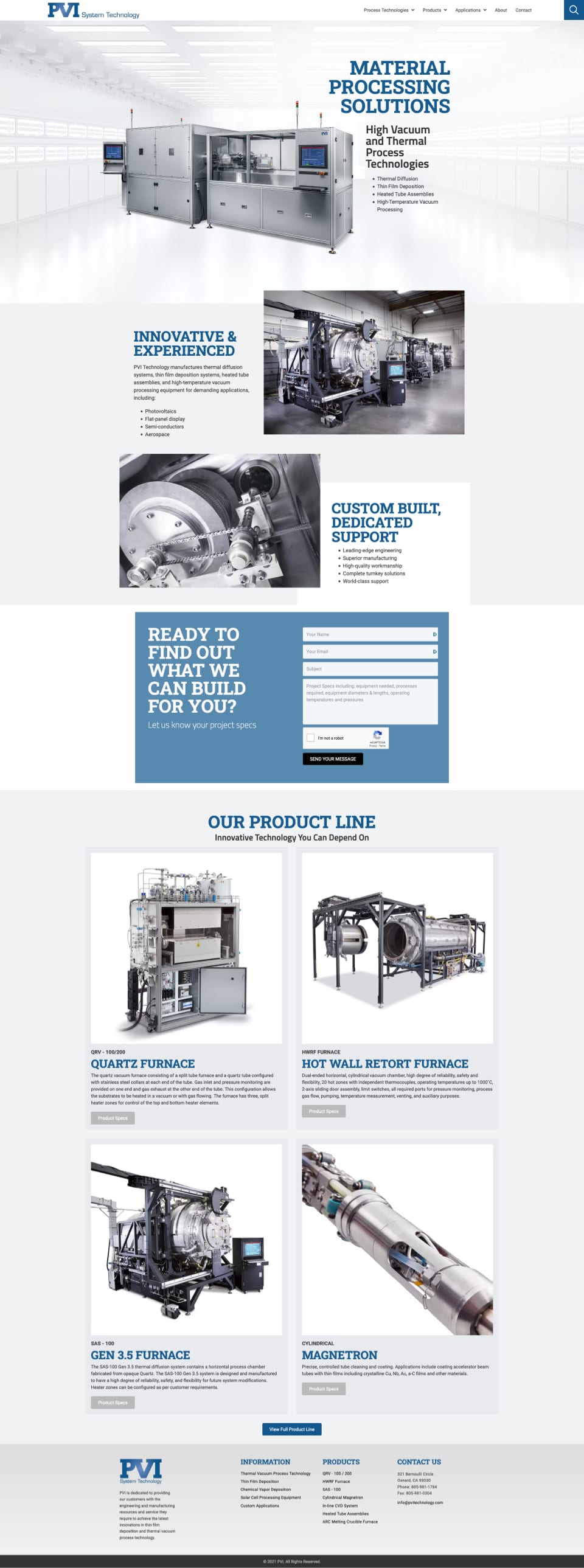 Fullscreen screenshot of httPVItechnology.com's home page