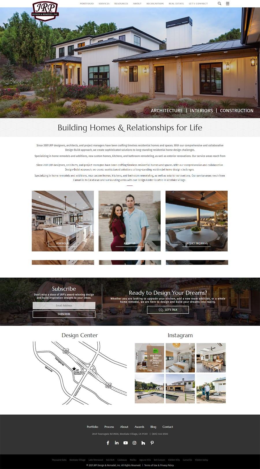 Fullscreen screenshot of JRPDesignAndRemodel.com's home page