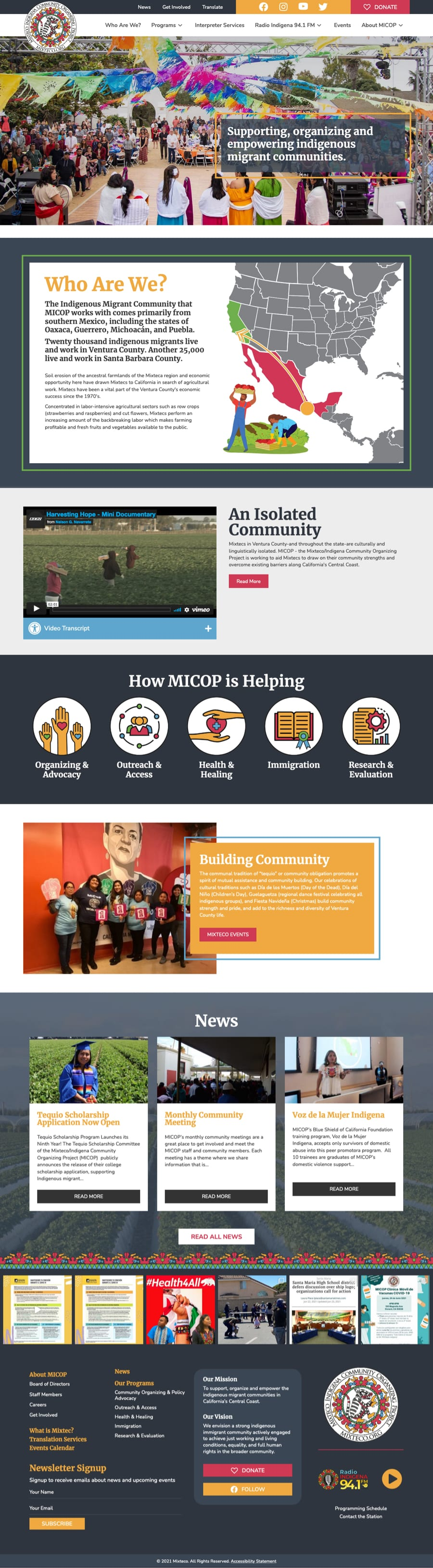 Fullpage screenshot of mixteco.org's home page