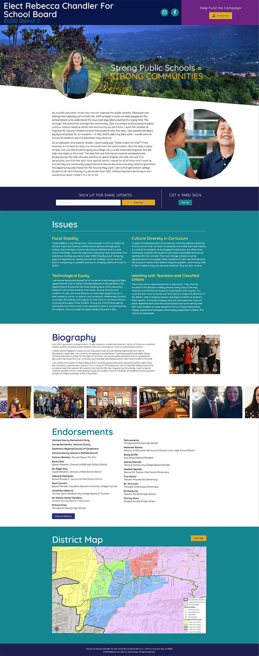 Fullpage screenshot of the Rebecca Chandler for School Board microsite