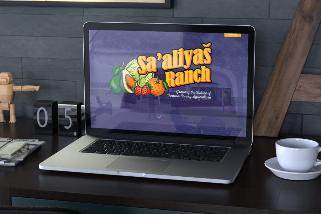 The Sa'aliyaš Ranch microsite is displayed on a laptop computer